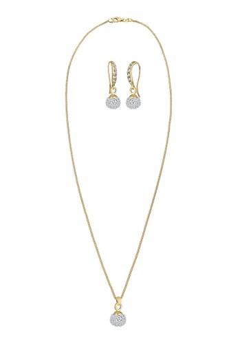 施華洛奇晶鑽 925 純銀鍍金esprit china首飾組, 飾品配件, 項鍊