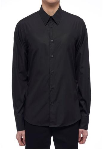 CK CALVIN KLEIN black Refined Poplin Long-Sleeved Shirt 39788AAF8BCA16GS_1