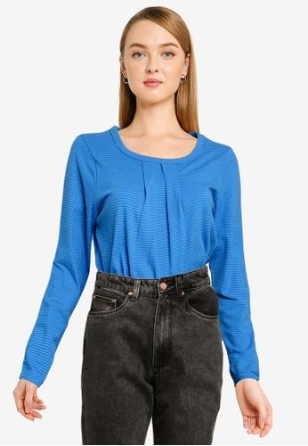 UniqTee blue Cotton Striped Long Sleeves Top 94BB8AACF3F8E9GS_1