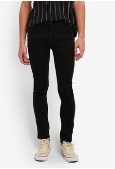 harga Skinny Fit 5-Pocket Jeans With Ripped Details Zalora.co.id