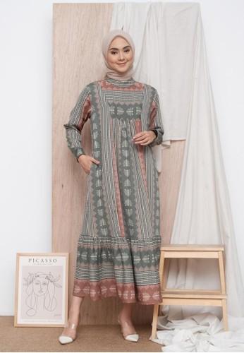 Zalima Zalima Radwah Printed Gamis in Muted Green 753B9AA4A6E64AGS_1