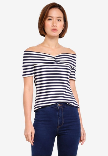 WAREHOUSE blue Stripe Rib Bardot Top F57B3AA3371FF5GS_1