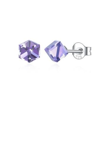 Glamorousky purple 925 Sterling Silver Simple Geometric Square Purple Austrian Element Crystal Stud Earrings 67901AC8ED7018GS_1