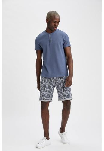 DeFacto grey Regular Fit Patterned Sweatshirt Bermuda Shorts ACAF5AA0583CFFGS_1