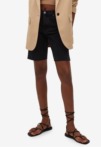 Mango black High-Waist Denim Bermuda Shorts BB583AABE20D1CGS_1
