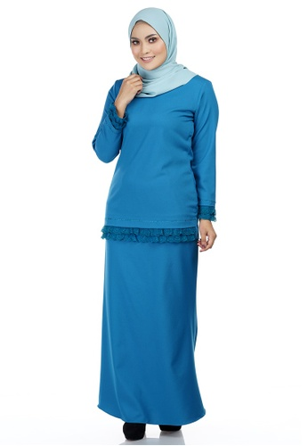 Thalia Kurung with Layered Frill Lace from Ashura in Blue