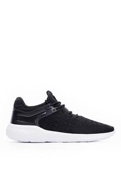 Sport 超輕量 菱形飛織 旋風運動鞋-09841-黑色