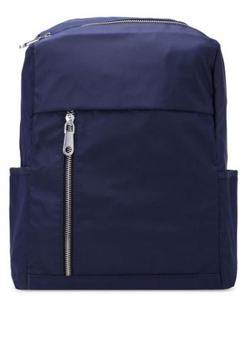 NUVEAU navy Lightweight Nylon Backpack NU245AC0S673MY_1