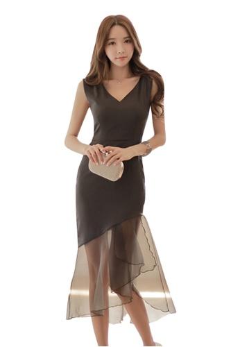 Sunnydaysweety black 2017 S/S Fashion Cutting Black Chiffon One-piece Dress UA040311 SU219AA98DEFSG_1