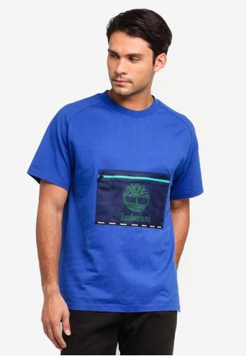 Timberland blue Moose River Antimicrobial Mesh Pocket T-Shirt CCC97AA1E25EC0GS_1
