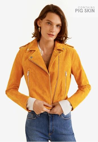 Mango yellow Suede Biker Jacket D106EAA2E0F9E0GS_1