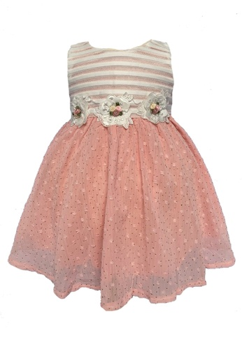 Era Maya white and pink Luxe Golden Beads Party Dress with Embroidery Flowers 4350BKA822870AGS_1