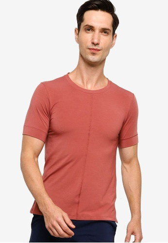 Nike red Yoga Dri-FIT Short-Sleeve Top A69DCAAF73474AGS_1
