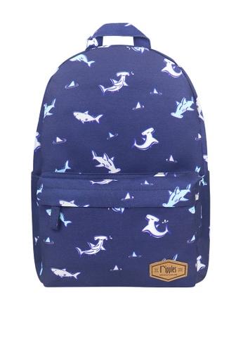 Ripples navy Sharks Mid Sized Kids School Backpack 31280KC65EAA9BGS_1