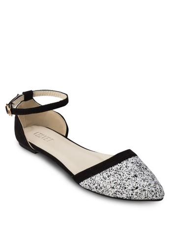 Leah 亮面側鏤空踝帶平底鞋, 女esprit官網鞋, 鞋