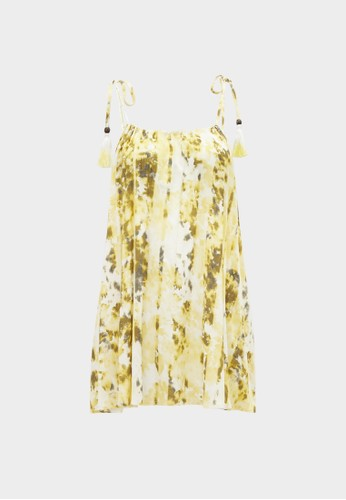 Pomelo yellow Abstract Print Halter Neck Top - Yellow F9CFEAAF08330CGS_1