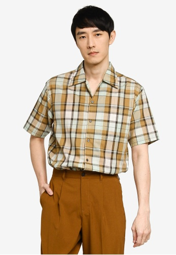 GLOBAL WORK beige Checkered Shirt F4788AA95E63F1GS_1