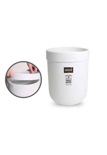 HOUZE white HOUZE - 8L Waterproof Design Open Top Wastebin with Pressure Ring (White) 082D4HL89CB6ECGS_1