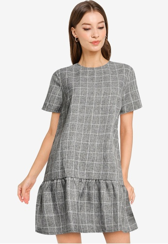 ZALORA WORK grey Peplum Hem Shift Dress 46CC9AA817CD02GS_1