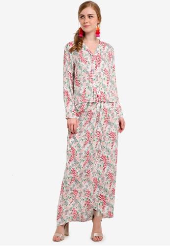 Lubna white and pink Printed Flared Hi Low Kebaya 509EFAACA4511CGS_1