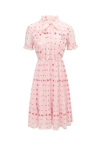 HAPPY FRIDAYS Temperament Pleated Chiffon Dress 63226 58973AA1FF9636GS_1