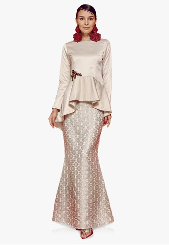 Farraly Embun Kurung from FARRALY in Beige