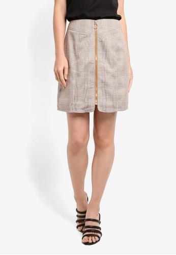 ZALORA multi and brown Zippered Plaid Skirt CFA15AA2A558C2GS_1