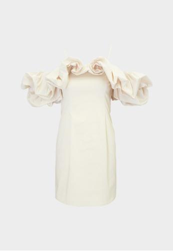 Pomelo beige Puffed Sleeve Off Shoulder Dress - Ivory A3205AAFEBD09BGS_1