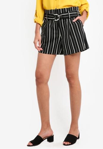 Dorothy Perkins black Mono Stripe O-Ring Shorts 9E031AAB3A4614GS_1