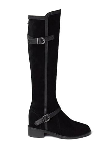 Twenty Eight Shoes 黑色 拼色牛絨騎士靴 VB333 45E7BSHD3D6183GS_1