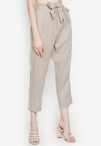 Andi + Olivia beige Front Tie Straight Linen Pants 93922AA1BB0680GS_1
