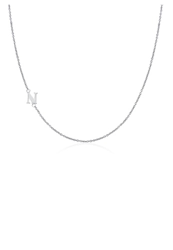 Moody Mood silver .925 Sterling Silver Sideway Letter N Necklace (18k white gold plating) 6B34AAC1350917GS_1