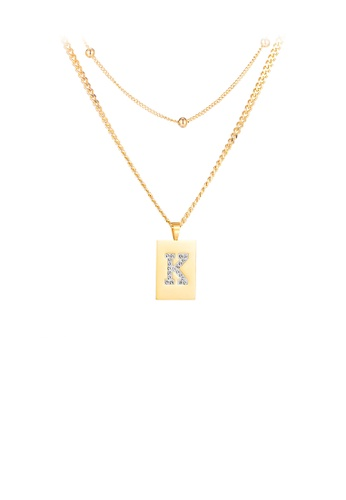 Glamorousky white Simple Personality Plated Gold Geometric Rectangle English Alphabet K Cubic Zirconia 316L Stainless Steel Pendant with Necklace F3F2BACECB1D39GS_1