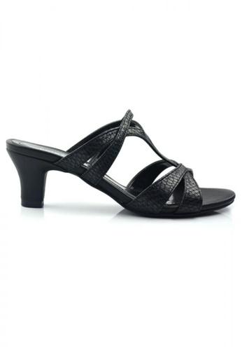 SHINE black Slip On Cut Out Strap Sandals SH554SH77BKCSG_1