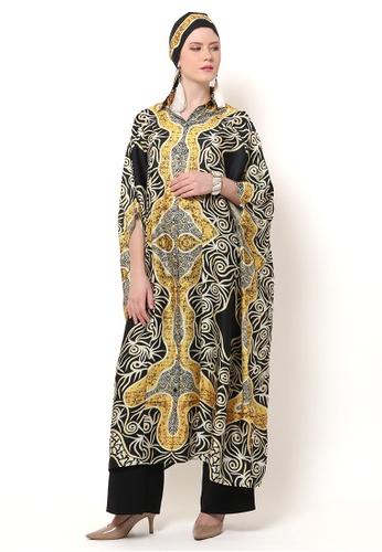 Kanzi by liza yahya yellow Kanzi Collared Batik Kaftan 0A596AA904A6CDGS_1