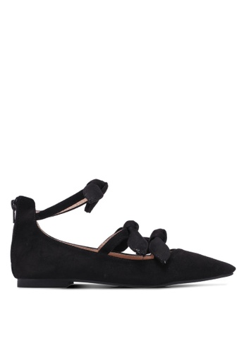 Velvet black Triple Bow Pointed Toe Flats 997D8SH0068A34GS_1