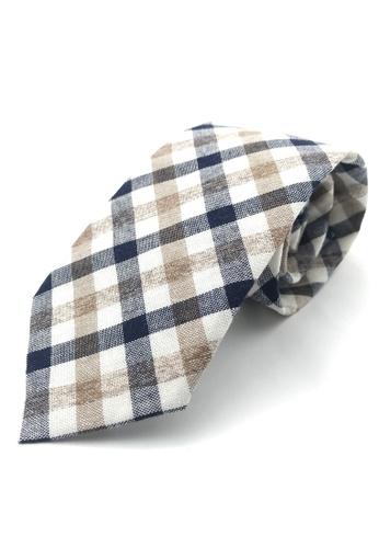 Caveman brown Brown Navy Checks Necktie DE108ACE8DA5F1GS_1