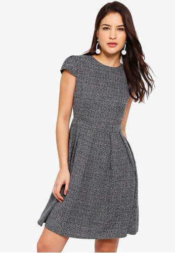 ZALORA black Cap Sleeves Pleated Fit And Flare Dress 5CFD7AA8415688GS_1