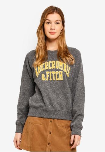 Abercrombie & Fitch grey Upper Tier Logo Crew Sweatshirt 3A2D2AAD981193GS_1