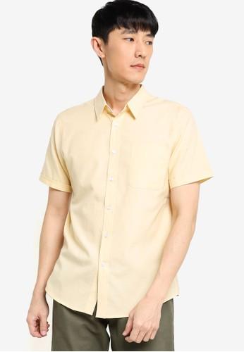 ZALORA BASICS yellow Short Sleeve Button Down Oxford Shirt 046ACAAFDB0B3DGS_1