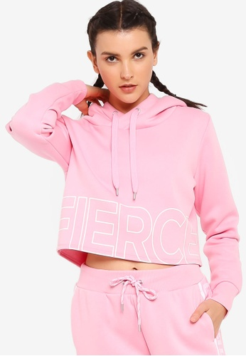 Lorna Jane pink Fierce Cropped Hoodie D40C7AA3AE9B1BGS_1