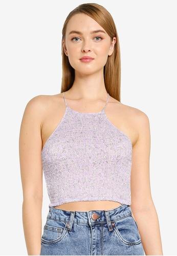 Cotton On purple Daisy Shirred Halter Cami 6028CAA6A026BAGS_1