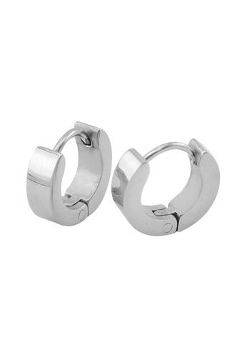 Elfi Silver Stainless Steel Hoop Earrings El186ac0rtd3my 1