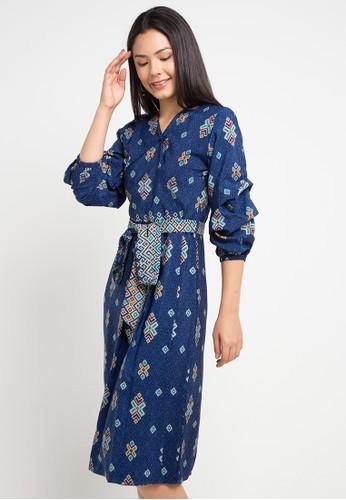 Anakara blue and multi Puffy Dress Simply Songket CC77FAABC6F045GS_1