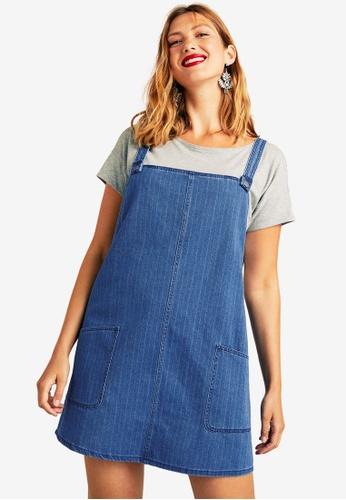 265072f4fa1a9 Violeta by MANGO blue Plus Size Pocket Denim Pinafore Dress  7C423AA163884AGS 1
