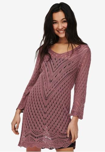 JACQUELINE DE YONG pink SUN 3/4 DRESS 7F477AA241EF0BGS_1