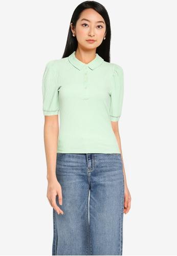 ONLY green Uma Short Sleeve Polo Top 8106EAAFAB65D4GS_1