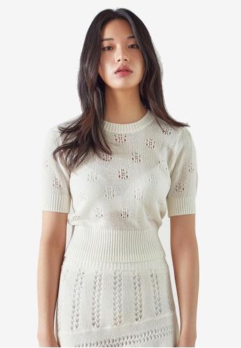 NAIN white Puff Sleeve Knit Top 45EB6AAD0EBD66GS_1