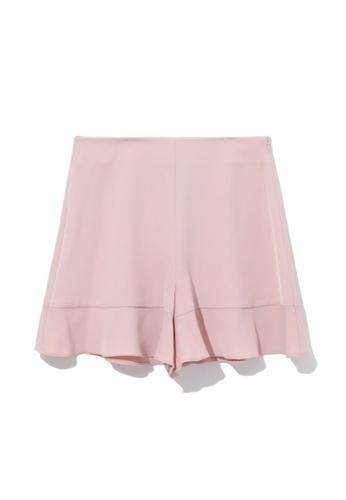 b+ab pink Flared shorts 8DA25AA75703BBGS_1