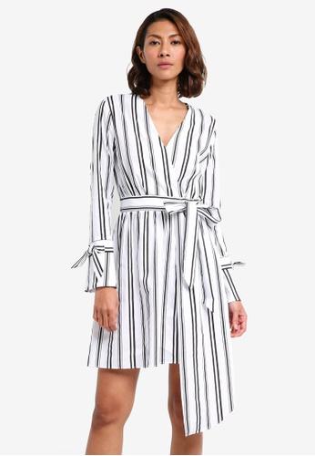 River Island white Stripe Wrap Tie Eyelet Dress BF55CAA1454861GS_1